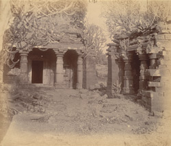 Front view of two small ruined temples near the village of Anjaneri, Nasik District